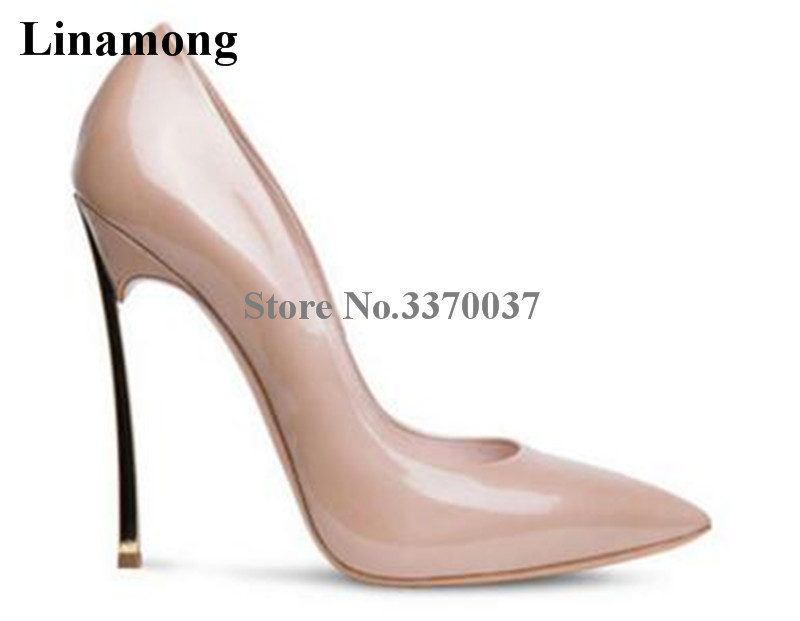 Brand Design Women Fashion Pointed Toe Patent Leather Metal Heel Pumps Charming Shining Stiletto 12cm Heels Formal Dress Shoes fashion women s sandals with metal and stiletto heel design