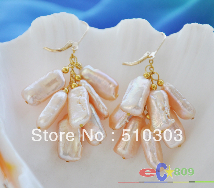 18 MM pink dens biwa FRESHWATER PEARL EARRINGS