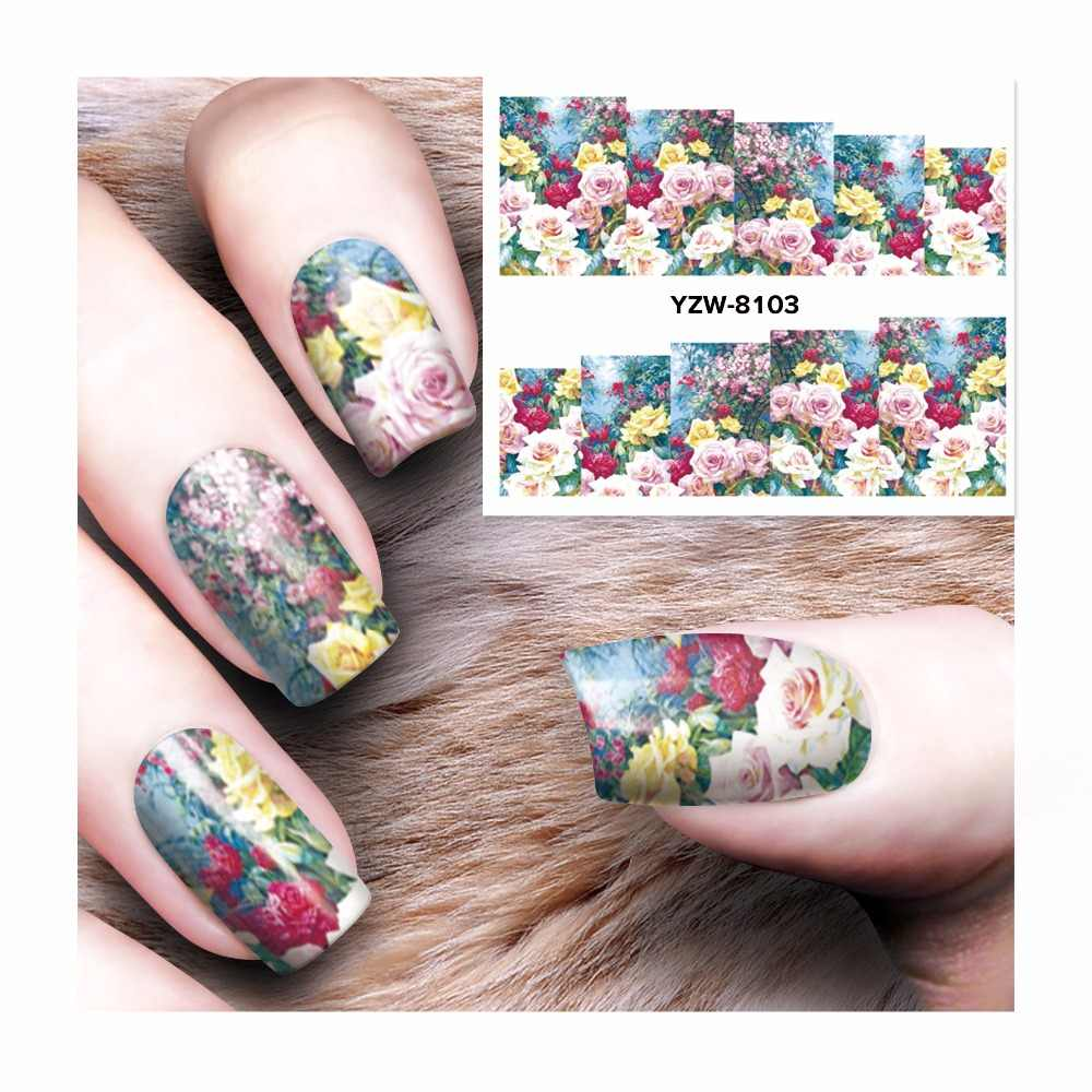 FWC Flower Nail Stickers Beauty Nail Art Water Decal Decorations Sticker On Nails Accessories 8103