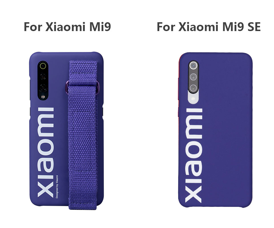 Image 4 - Original Xiaomi 9 Case 9 SE Hard Case PC Wrist strap Cover Protector Back Cover Case For XIaomi 9 Mi 9SE / screen film PET-in Fitted Cases from Cellphones & Telecommunications