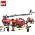 Enlighten 607 unids playmobil bombero policía camión de bomberos de la ciudad bloques de construcción juguetes educativos brinquedos para niños