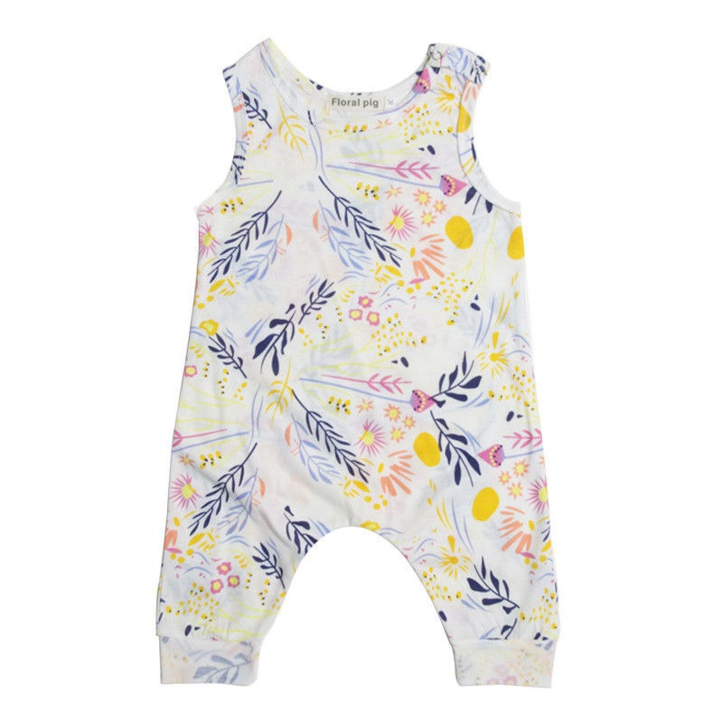 2017 Summer  Infant Baby Toddler Kids Boy Girl Romper Playsuit One Pieces Outfit Clothes Sleeveless Floral Baby Rompers newborn infant baby girl clothes strap lace floral romper jumpsuit outfit summer cotton backless one pieces outfit baby onesie