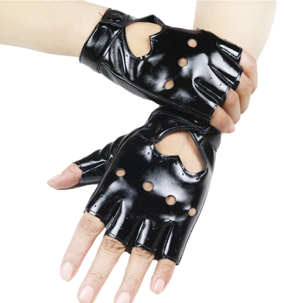 New 2018 Accessories Gloves Women Punk Short Synthetic Leather Gloves Half Finger Fingerless Fashion Lady Handsome Red Gloves