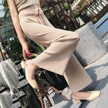 Korean Women Trousers Autumn Knit Pants Elastic Waist Wide L