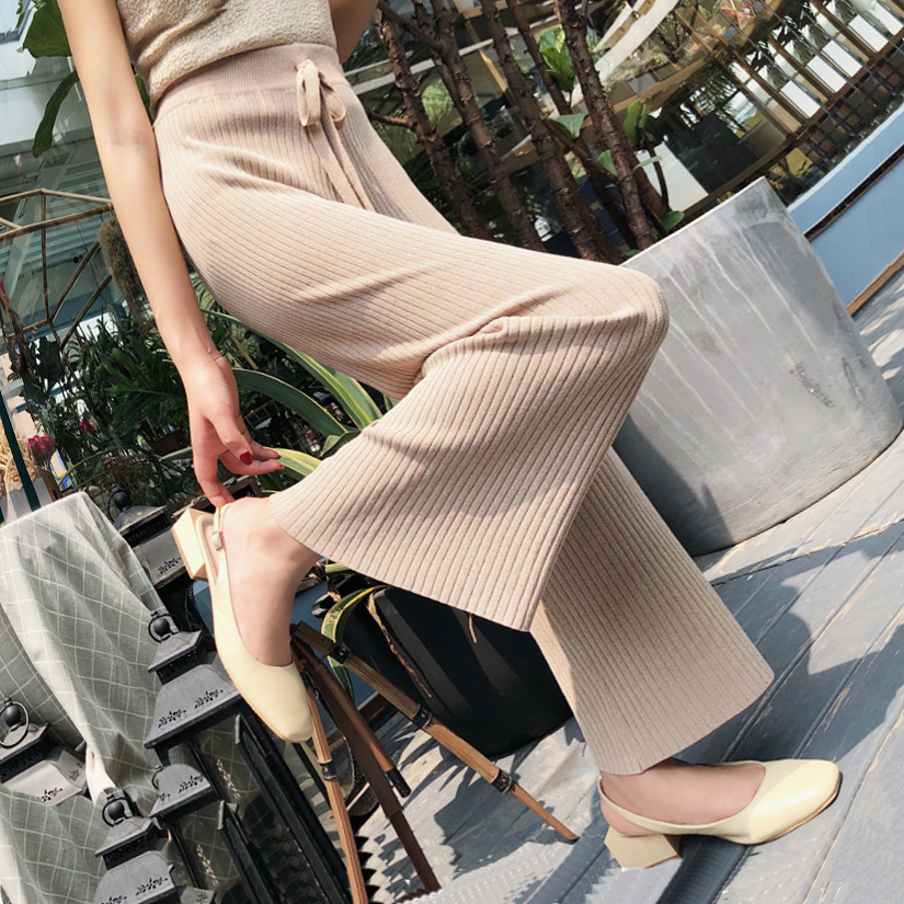 Korean Women Trousers Autumn Knit   Pants   Elastic Waist   Wide     Leg     Pants   Thick Warm Fashion Winter Trousers Casual Outerwear   pants