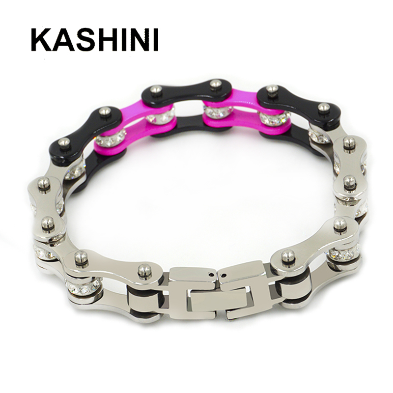Bracelet Crystal For Female Gift Bicycle Chain Punk Bracelets Jewelry 316L Women