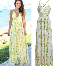Summer Yellow Tank Strapless Sleeveless Bandage Dresses Ladies Long Bohemian Chiffon Dress Print Floral Party Elegant Clothing bohemian strapless sleeveless floral print women s dress