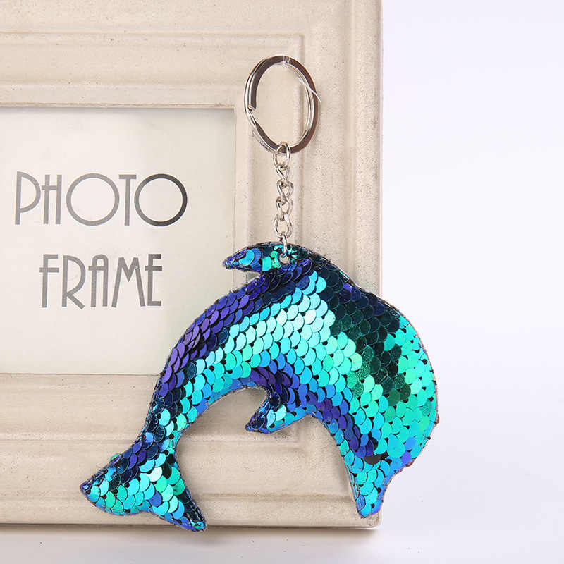 10*8.5CM Color Changing Dolphin Keychain Cute Glitter Sequins Bag Pendant Car Styling Key Rings Anime Keychains For Women Gifts