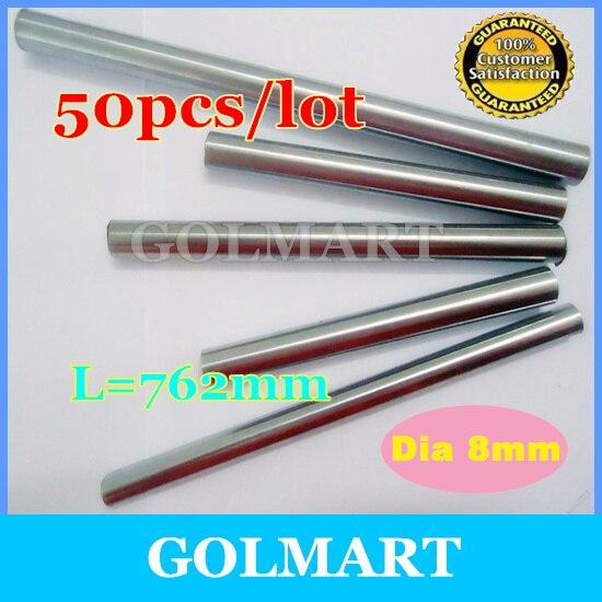 Линейный вал 50 шт. диаметр 8 мм-L 762 мм прецизионный хромированный линейный круглый вал
