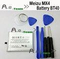 Para meizu mx4 batería 100% nuevo 3100 mah batería bt40 para meizu MX4 MX 4 reemplazo de la batería de copia de seguridad del teléfono móvil + Envío Gratis