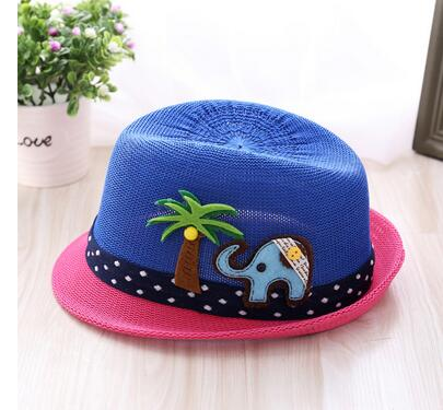 50pcs/lot fedex fast free shipping summer spring casual straw hat girl boy beach cartoon elephant tree beach hat