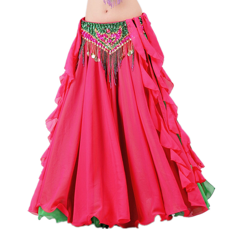 New 2018 Double Colors Women Belly Dance Clothes Full Circle Maxi Skirt Side Split Long Skirt Belly Dance Skirts (without Belt)