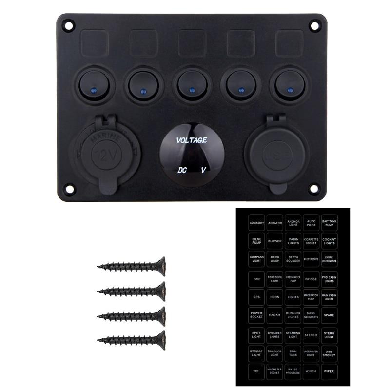 Inline Fuse Box Blue LED Rocker 5 Gang Switch Panel Voltmeter Dual USB Charger Socket 12V