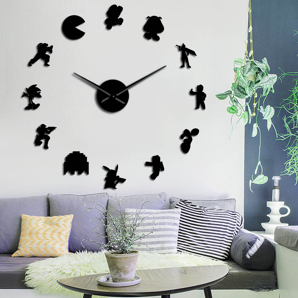 Retro Video Game Characters DIY Wall Stickers Large Mute Wall Clock Geeky  Nerdy Game Room Decor Giant Watch Timepiece Gamer Gift
