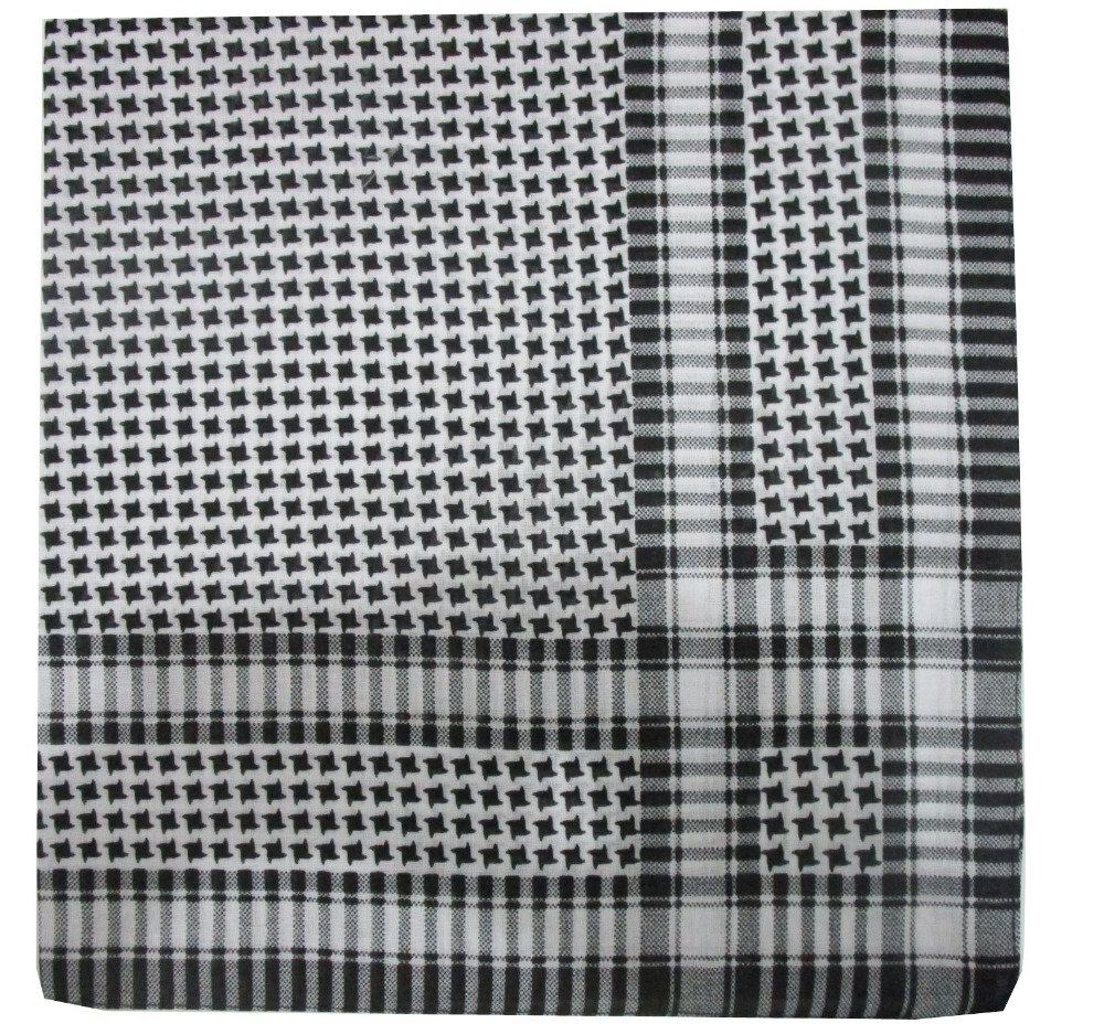 Free Shipping 2018 New Male Hip Hop Black White Plaid Houndstooth Shemagh Tactical Scarfs Bandanas Headwear For Mens