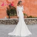 2016 белого кружева с длинным рукавом русалка свадебные платья свадебные платья дес лодка шея назад кнопки суд поезд Vestido де Noiva