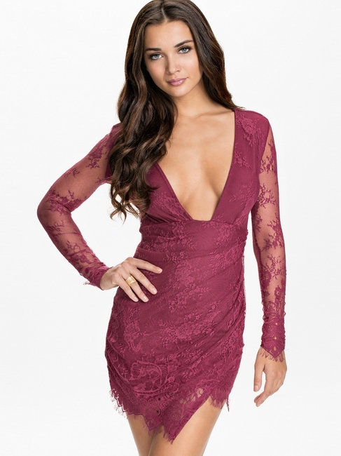 New Women Lace Vestidos New Arrival Long Sleeve Autumn Winter Club Dress 3 Colors Floral Lace Bodycon Dresses