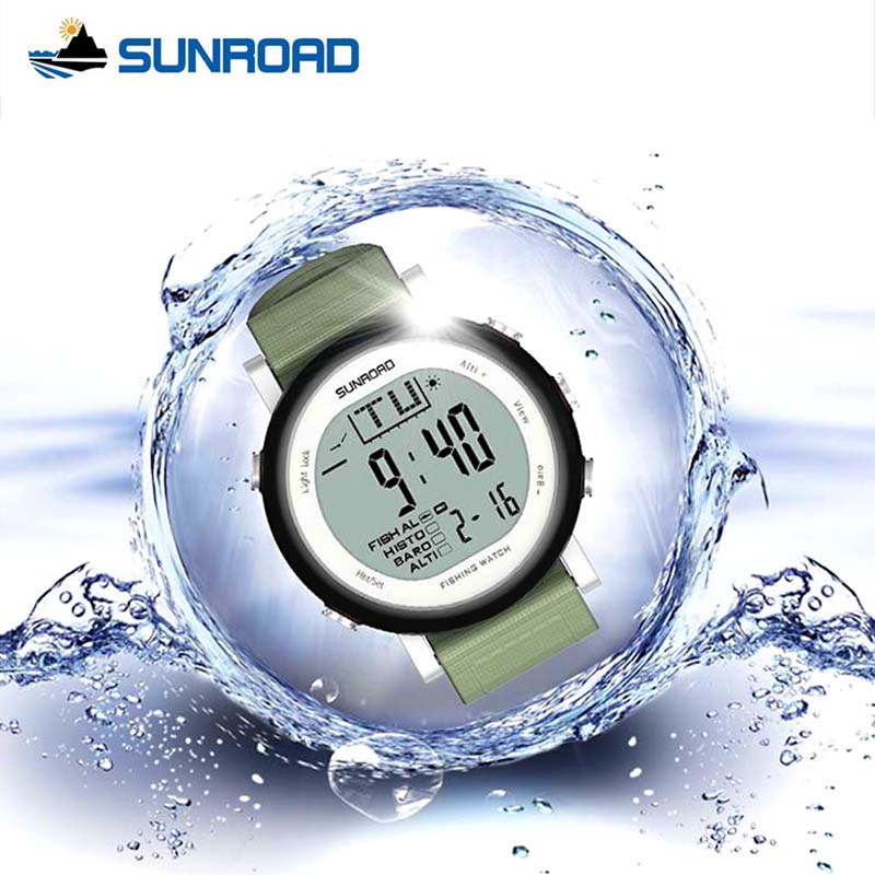 SUNROAD Watch Men Women Digital Weather Forecast Outdoor Fishing Watches Waterproof Barometer Thermometer Altimeter Relogio  foxguider fx702b outdoor fishing barometer altimeter tracking gear digital watch silver white