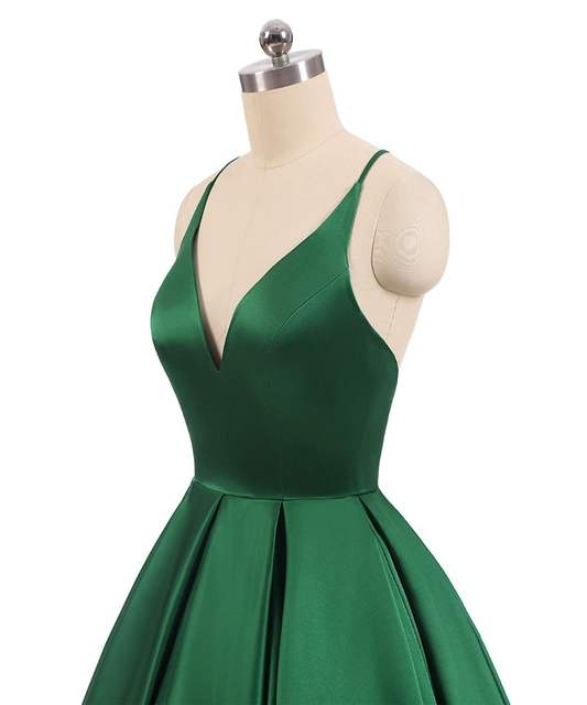 05fde1bcd1 US $118.0 49% OFF|JaneVini 2019 Elegant Emerald Green Ball Gown Long  Bridesmaid Dresses Sexy Deep V Neck Backless Satin Dress Vestido Longo  Verde-in ...