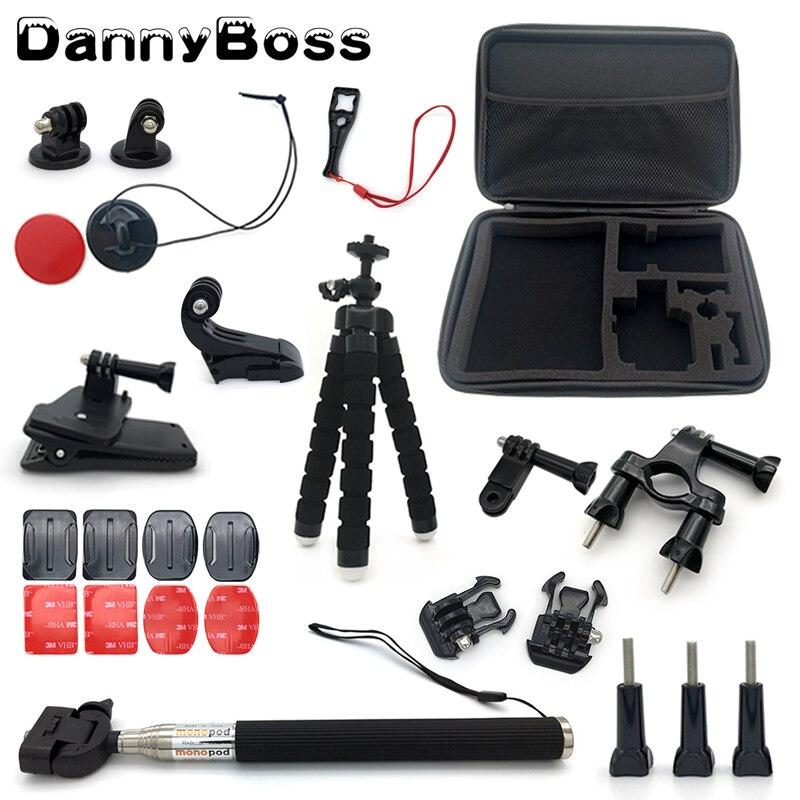 DannyBoss Sport Action caméra accessoires Set grand sac de Collection trépied poulpe pour go pro accessoires