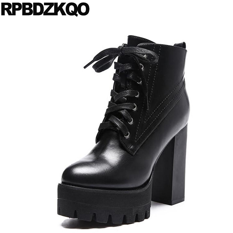 все цены на Fashion Waterproof Black Booties Women Extreme Autumn Chunky Fetish Ankle Lace Up Shoes High Heel Gothic Platform Boots Punk