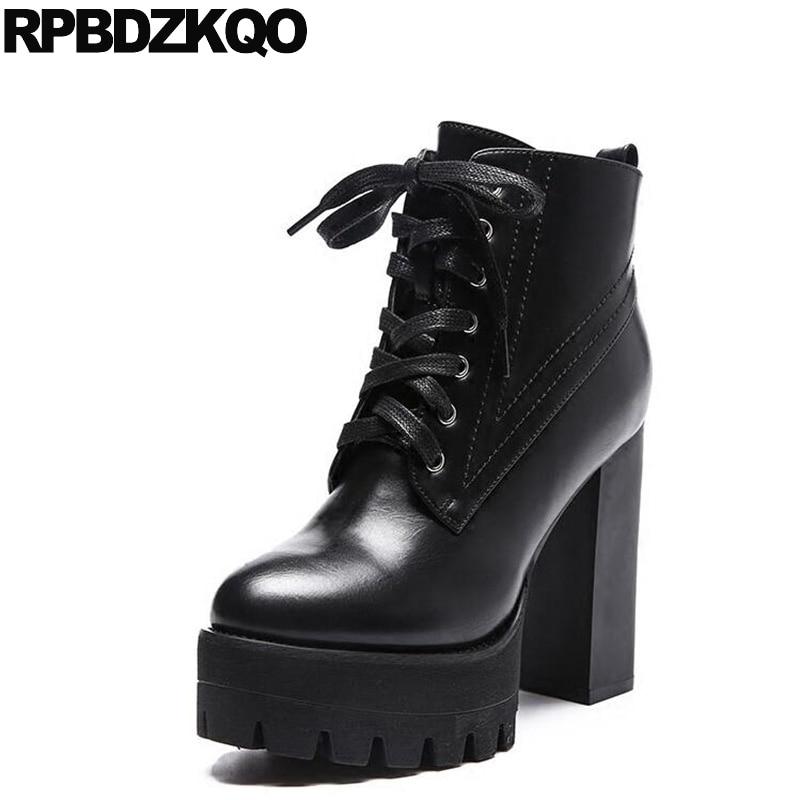 89f9c03c0923 US $64.84 36% OFF|Mode Wasserdicht Schwarz Booties Frauen Extreme Herbst  Chunky Fetisch Ankle Lace Up Schuhe Hohe Ferse Gothic Plattform Stiefel  Punk ...