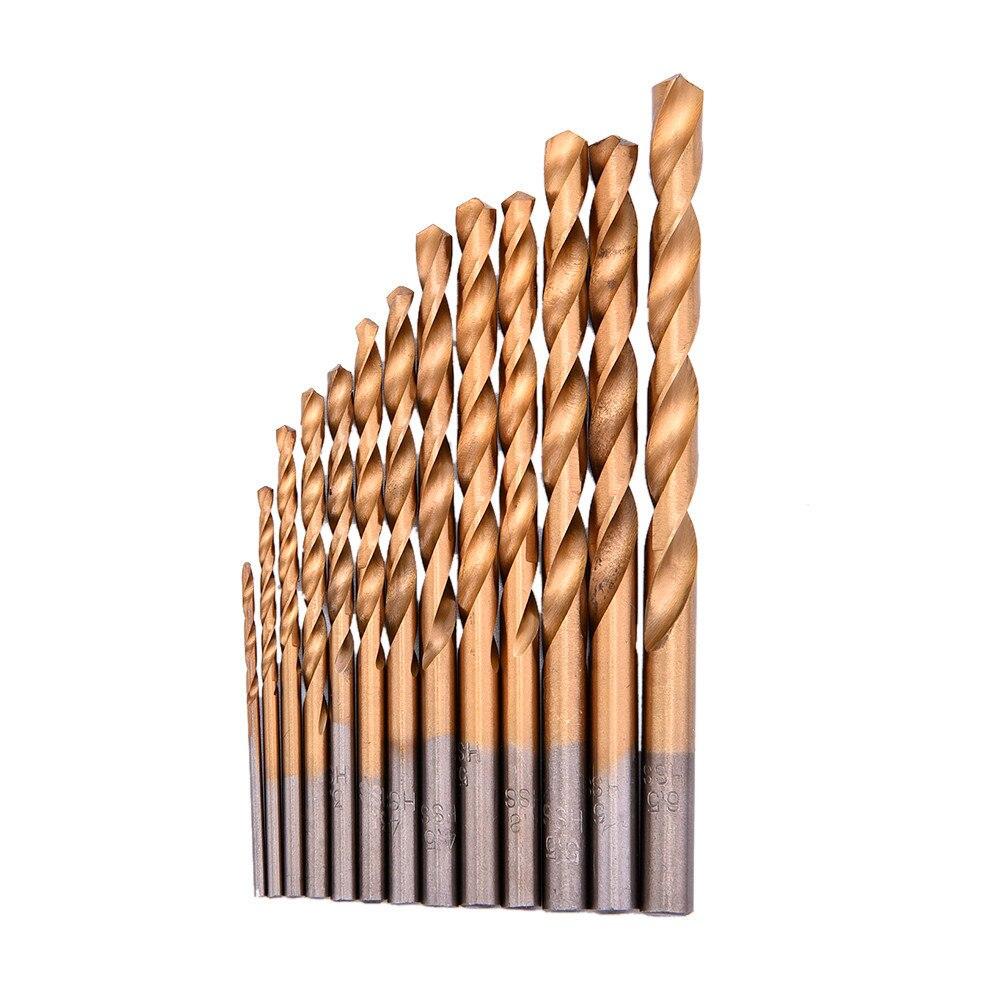 13pcs/set Twist Drill Bit Set HSS Plating Titanium Saw Metric System Woodworking Metal Platic Mini Drilling Tools High Quality