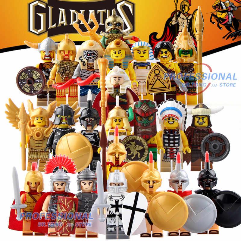 Castillo Medieval Caballero romano armadura esqueleto Egipto el Señor de los anillos figura bloque de construcción juguetes de ladrillo regalo BR248