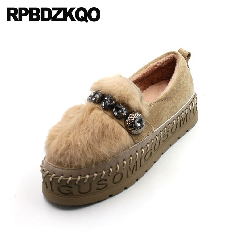 Crystal Flats Round Toe Rhinestone Creepers Platform Shoes Muffin Thick Sole Women Yellow Vintage Designer Fur Beautiful Drop