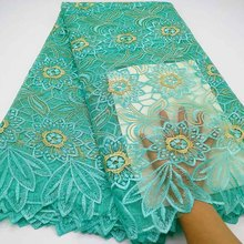 Aqua yeşil afrika dantel kumaş yüksek kalite fransız tül dantel kumaş 2019 nijeryalı danteller gipür nakış kumaş düğün için