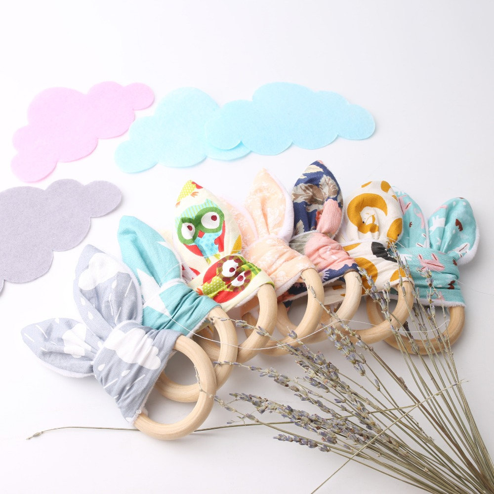 2pc Wooden Teether Baby Teether Baby Organic Bunny Ear Bracelets 70mm Ring Newborn Toy Eco-Friendly Montessori Toy
