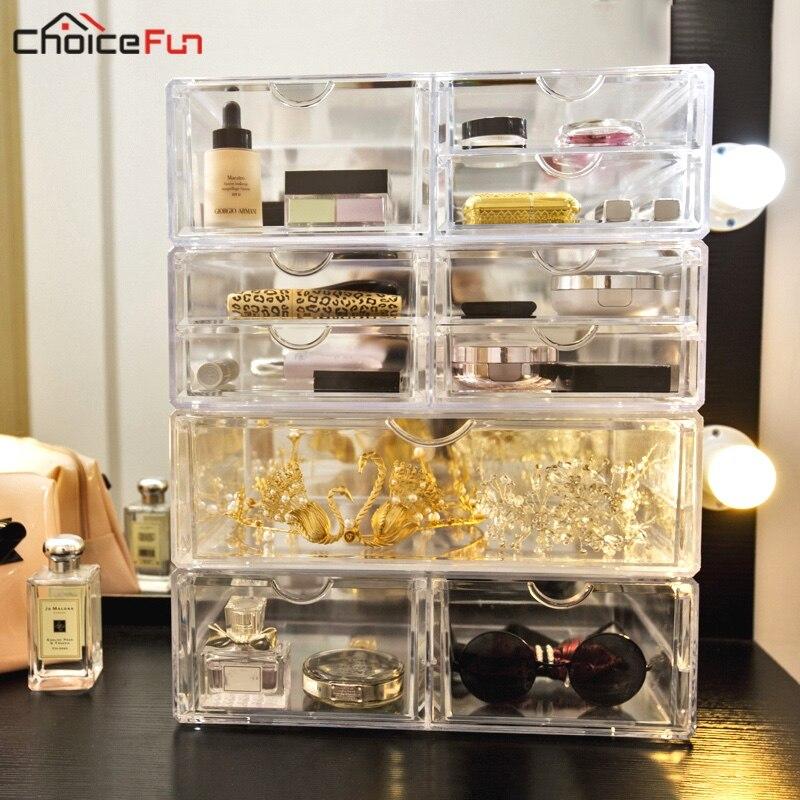 CHOICE FUN Home Desk Transparent Makeup Box Organizing Organizadores Plastic Make Up Acrylic Drawers Cosmetics Makeup Organizers