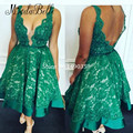 2016 Lace Green Homecoming Dresses Short V Neck Open Back Teenage 8th Grade High School Graduation Gowns