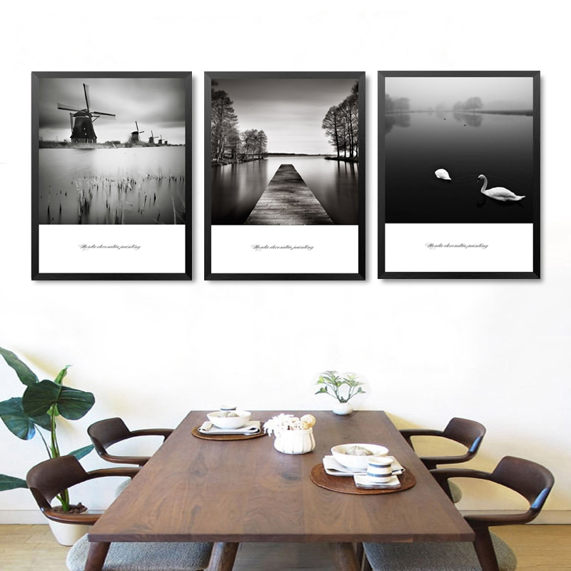 Black And White Paintings For Bedroom Bedroom Sets Black Modern Bedroom Black Bedroom Furniture Sets Pictures: Black And White Landscape Art Canvas Painting Prints And