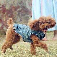 Pet Dog Denim Vest Spring and Summer Teddy Bichon Distinguished Guest Fashion Onesies Bib Pants White Cowboy Vest Dog Clothes