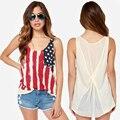 Crop tops imprimir tanque superior de La bandera Americana impresa costura Camiseta sin mangas chaleco femenino del verano de las mujeres tanques tops