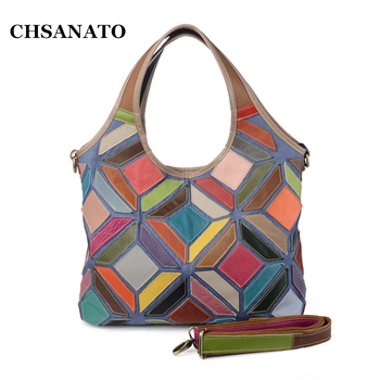 CHSANATO Fashion Genuine Leather Women Handbag Patchwork Shoulder Bag Casual Women Bag For Women Messenger crossbody Bags