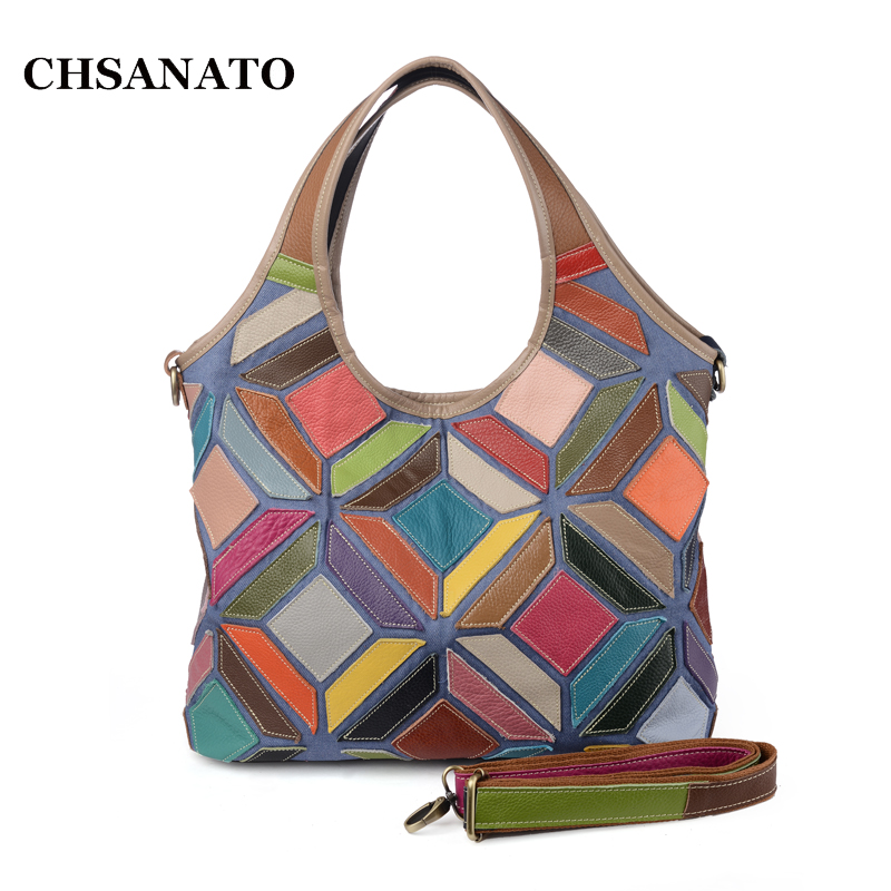 New 2018 Fashion Genuine Leather Women Handbag Patchwork Shoulder Bag Casual Women Bag For Women Messenger crossbody Bags women floral leather shoulder bag new 2017 girls clutch shoulder bags women satchel handbag women bolsa messenger bag