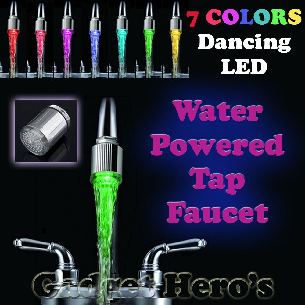 LED Water Faucet Stream Light 7 Colors Changing Glow Shower Tap Head ...