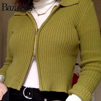 Fashion Women Spring Autumn Cardigans Long Sleeve Knitted Punk Turn Down Collar Sweater