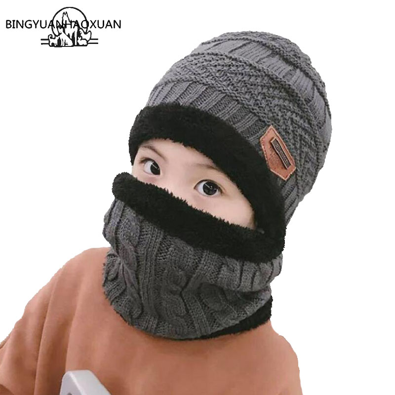 2018 New Kids Winter Warm 2pcs Knitted Hat Children Cap Skullies Beanies Circle Scarf with Thicken Lining Fleece for Boys Girls