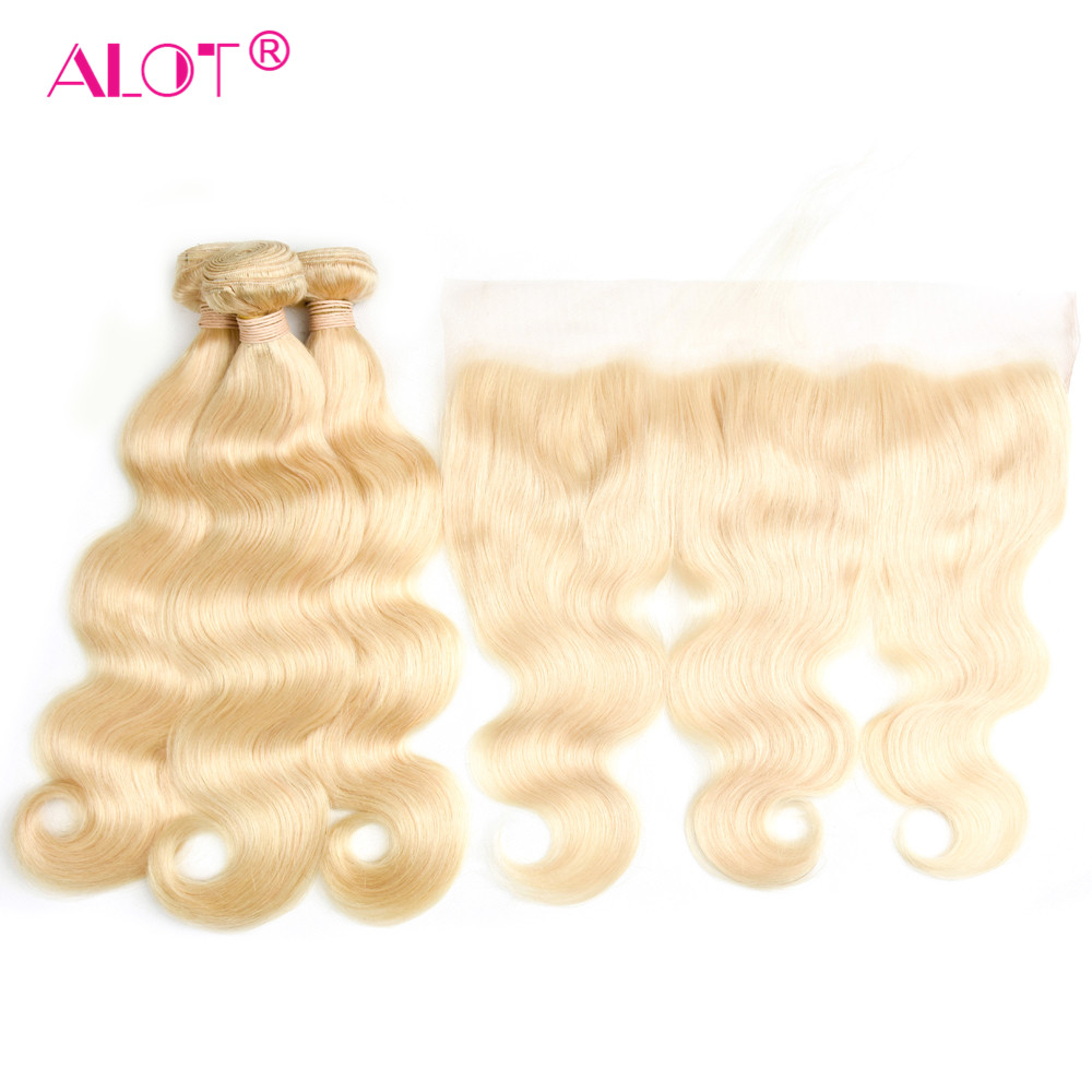 Alot 613 Peruvian Body Wave Hair Bundles With Frontal Non Remy Honey Blonde Human Hair Bundles With Frontal Transparent Lace image