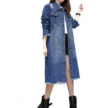 Women Plus Size Jeans Trench Coat 2017 New Spring Autumn Female Casual Ripped Long Denim Coat Outerwear Casaco Femme C46