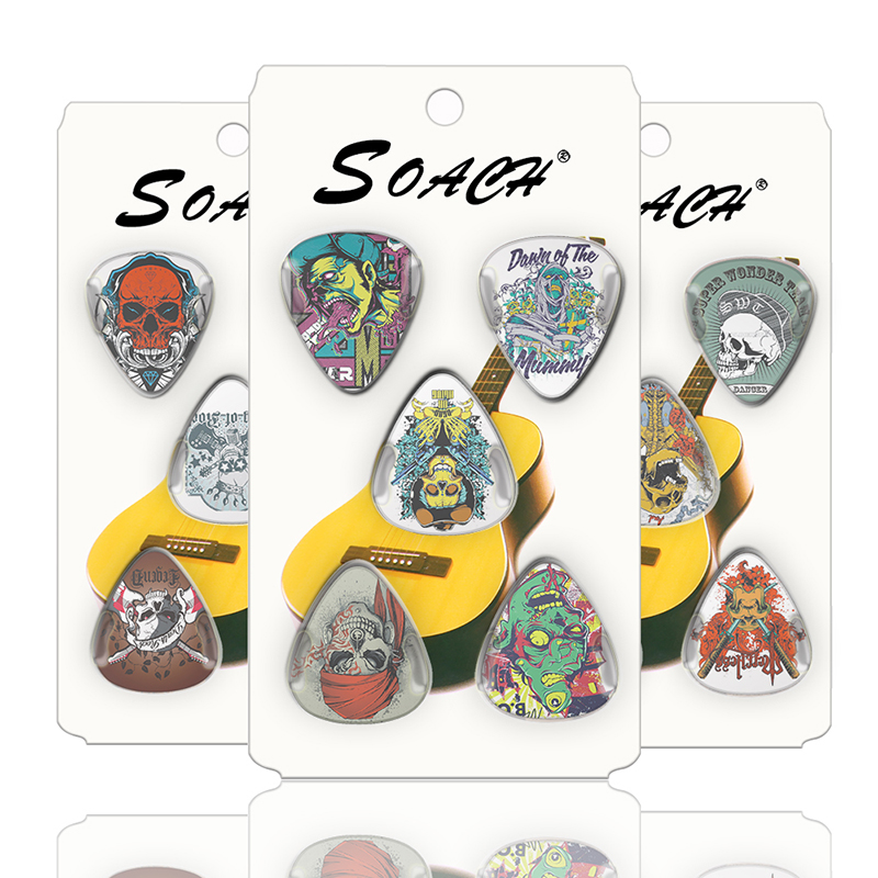 SOACH 10 Guitar Skull Thickness 0.71mm 1.00mm 0.46 Celluloid And Random Guitar Section