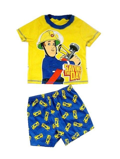 2017 новое прибытие СЭМ мальчик одежды летом с коротким рукавом хлопок ребенок 100% спасательных пожарный сэм одежда набор