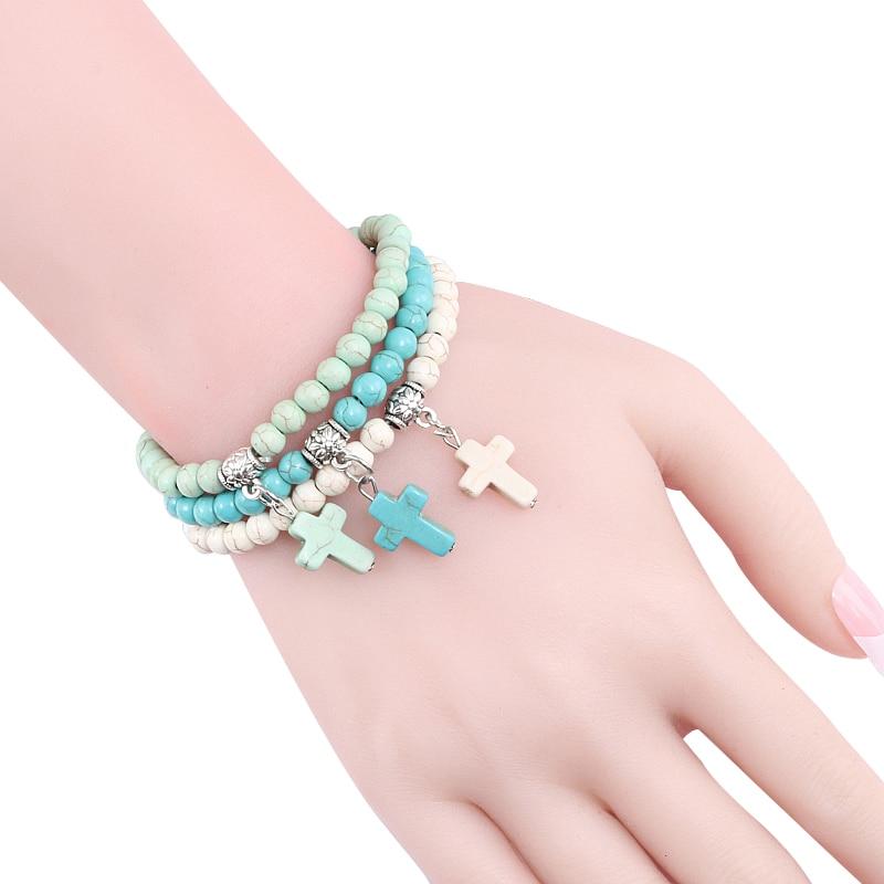 Vintage Cross Natural Stone 6mm Beads Bracelet Charm Men Blue Turquoises Pendant Strand Bracelets Bangles Women Fashion Jewelry