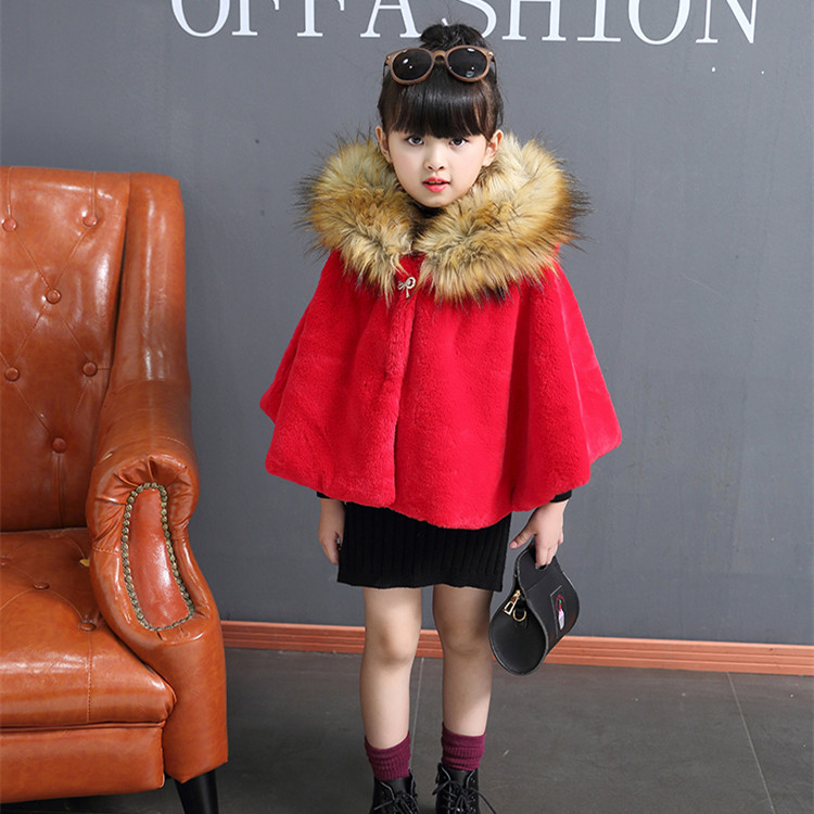 New Fashion Girl Autumn and Winter children fur cape hooded Coats Rabbit Fur Shawl Faux Coat Cloak