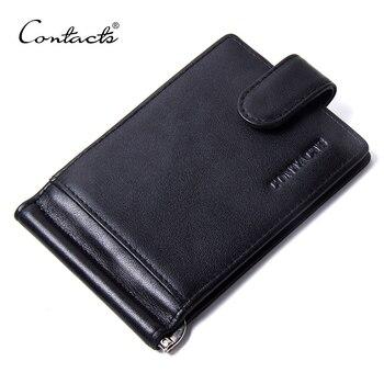 Fashion Black Money Clips Famous Brand High Quality Genuine Leather Men Wallets Hasp Mini Purse Vintage Men Wallet CONTACT'S