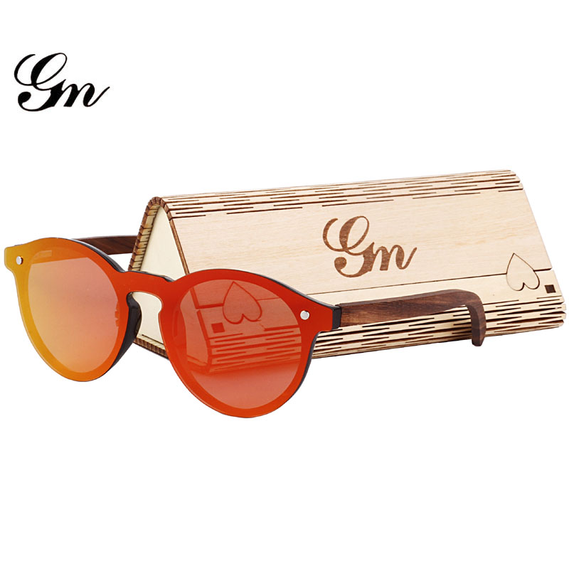 G M Круглый Мода Лидер продаж, бамбук, дерево, очки, поляризованные Солнцезащитные очки для женщин