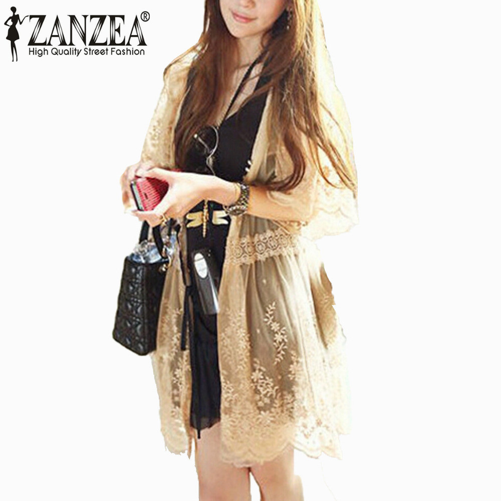 Zanzea 2017 New Summer Women Retro Floral 3/4 Flare Sleeve Sheer ...
